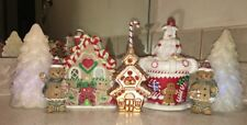 Gingerbread House Light Up candy Village W/trees 7 Piece Led Multi Colored