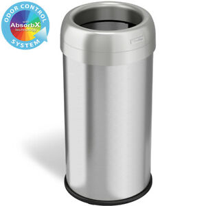16 Gallon Round Open Top Stainless Steel Recycle Trash Can Kitchen