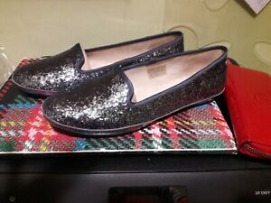 UGG silver sequin fur-lined house shoes / slippers, size 6.5