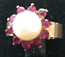 Solid 14K Yellow Gold Pearl Ruby Ring Size K 1/2 (50.6mm) Pearl size 7mm x 7mm