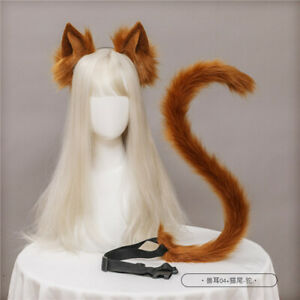 Kitty Long Fur Plush Cat Ears Hair Pin Hairwear Band Cosplay Party Prop Bendable