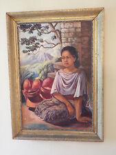 Fine Original Framed Oil Painting - Young Girl Indonesia Large ESTATE FIND KALEM