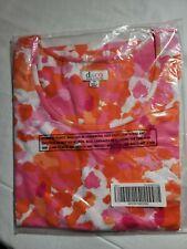 NEW D&CO Women's Denim & Company Pink Orange Watercolor Size 1X Blouse
