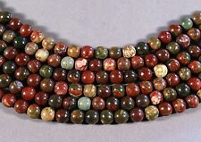 "CHERRY CREEK PICASSO JASPER 8MM ROUND BEADS 16"" STRAND RED GREEN GOLD"