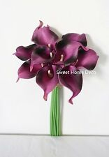 "Sweet Home Deco Latex Real Touch 15"" Artificial Calla Lily 10 Stems Bouquet"