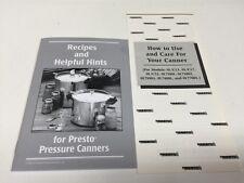 Presto 85653 22QT 17QT 15QT Pressure Cooker Canner Instructions Recipe Book