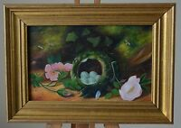 19th Century Oil On Panel Still Life Nest of Eggs with Flowers Dated 1876 Ridley