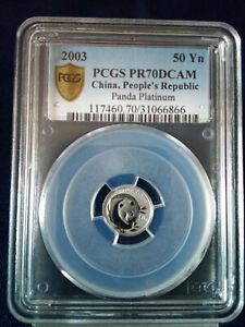 2003 PCGS China People's Republic Platinum Panda PR70DCAM, 50 Yuan   POP 12