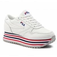 Scarpe Donna Zeppa Platform Fila Orbit Zeppa Stripe WMN Sneaker Bianche Pelle
