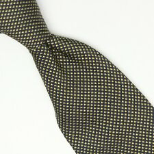 Thick Silk Cotton Necktie Blue Olive Grid Check Textured Nubby Weave Made Italy