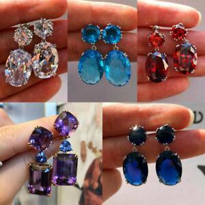 Turkish Handmade Women Boho Jewelry 925 Silver Amethyst Ear Stud Dangle Earrings