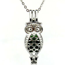 "K593 Silver 35mm Animal Long owl Pearl Beads Cage Necklace 18""  - Mothers' Day"