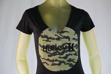 HURLEY WOMEN'S BLACK GRAPHIC T-SHIRT V NECK W/ HURLEY LOGO size Small