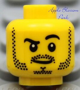 NEW Lego Police MINIFIG HEAD Boy w/Black Beard - Dino/City/Castle/Kingdom/Pirate