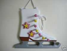 Wooden Ice Skate Medal Display, Yellow & Pink
