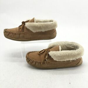 Minnetonka Womens 8 Tabby Folded Trapper Moccasin Slippers Brown Leather 40073