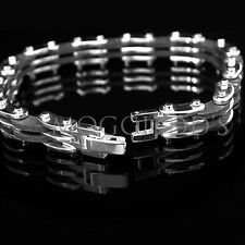 "Mens Stainless Steel & Rubber 8½"" New Bracelet"