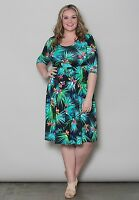Plus Size Dress 1X 4X Short Sleeve Scoop Neck Tropical Print Empire Waist SWAK