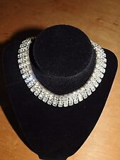 Vintage Rhinestone 4 Band Choker Necklace, 13'' in length, 1940's, stunning.