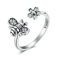 Cute Honey Bee 925 Sterling Silver Sparkling CZ Flower Charm Open Ring for Women