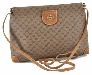 Authentic GUCCI Micro GG PVC Leather Shoulder Cross Body Bag Brown E0408