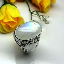 925 Sterling Silver Natural Moonstone Oval Loose Gemstone Men's Ring MSR-054