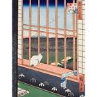 Hiroshige Asakusa Fields 100 Views Edo Cat Vintage Japanese Large Canvas Print
