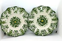 Jay Willfred Andrea by Sadek Green & White Floral Reticulated Plates set of 2