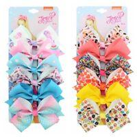 New 6Pcs/Set JOJO SIWA Rainbow Printed Knot Ribbon Hair Bow Lots For Girls Baby