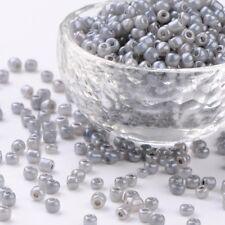 LOT de 35g (env.500 pcs) PERLES rocaille VERRE GRIS ARGENTE nacré 4mm 6/0 bijoux