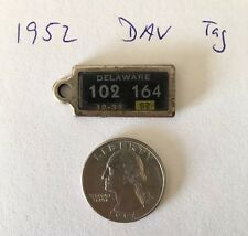1952 Delaware Disabled Veterans Miniature License Plate Keyfob, VERY RARE