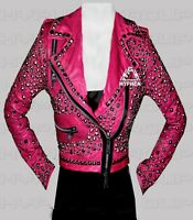 New Women's Full Pink Multi Silver Studded Punk Stylish Cowhide Leather Jacket