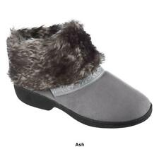 ISOTONER Microsued ADDIE BOOT Style Slipper Shoe Stormy GRAY w Faux Fur