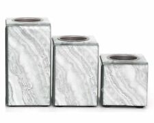 Set Of 3 Marble Style Candle Holders Silver Home Deco Gift Idea