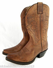 DOUBLE-H Womens Deep Brown Leather Cowboy Western Roper Boots New w/ dark spot