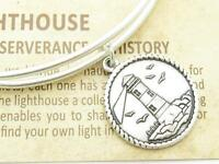 Wind & Fire Light House Charm Silver Wire Bangle Stackable Bracelet USA Gift New