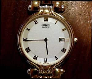 Citizen BASIC goldene Schmuck-Herren Uhr Cal. 4773 Datum neuwertig Batt. neu TOP