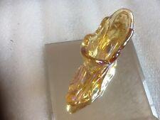 """Fenton 5"""" Gold Carnival Glass Shoe w/Pink Flowers"""