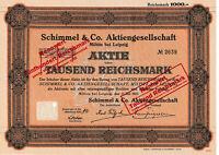 Schimmel & co. Miltitz bei Leipzig historische Aktie 1927 Sachsen Pharma Wolfen