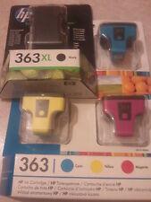 GENUINE HP 363 Ink Cartridges Black XL With Cyan, Magenta & Yellow 363XL C8719EE