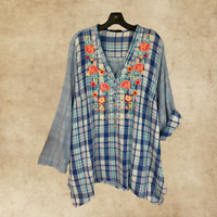 PLUS SIZE ANDREE BY UNIT EMBROIDERED 3/4 SLEEVE V-NECK BOHO TUNIC TOP 1X 2X 3X