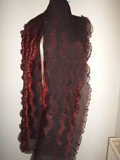LEGE LONG LARGE FOULARD FEMME BORDEAUX SATINE EFFET ACCORDEON 50 CM SUR 250 CM