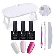 Mini LED UV Lamp Nail Dryer Manicure & 3 Colors UV Gel Polish Varnish Set