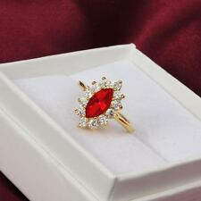 Red 18K Gold Plated Sapphire Cluster Ring   Women Size-7 *RED* 10% Discount
