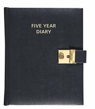 Collins 5 Year Diary Five Year Diary Black Leather Look Faux Leather Lockable