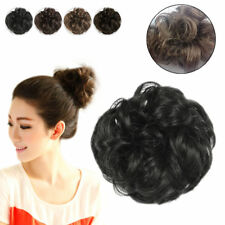 Hair Extensions Wavy Curly Synthetic Hair Bun Wig Hairpiece Clip in Scrunchie