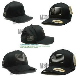Flexfit Brushed American Flag Tactical Operator Cap Hat Military Army Marines