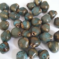 20pcs Blue Speckled Rustic Porcelain Bicone Beads 14x12mm Jewellery Making G25