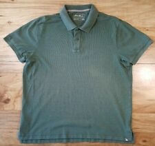 Eddie Bauer Outdoor OD Green Short Sleeve Polo Shirt Size XL Button Collar