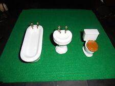 Dollhouse Bath Set (3 PC) 1/12th Scale Bathtub Toilet and Sink
